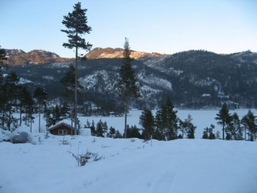 Uitzicht Huurwoning Lillesand Noorwegen Fjordhome winter